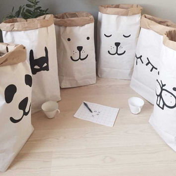 INS popular heavy kraft paper bag,Animal Letter Cross Paper Storage Bags,Toys Clothes Kids Wall Pocket Children Room (61X32X16CM