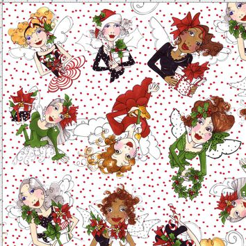 Fairy Toss White / Red Fabric