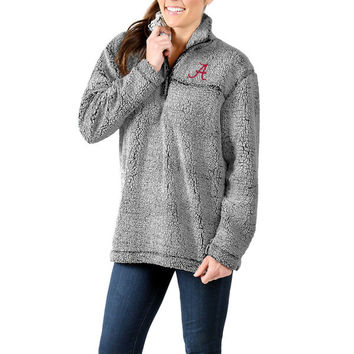 Alabama Crimson Tide Women's Sherpa Super Soft Quarter-Zip Pullover Jacket - Gray
