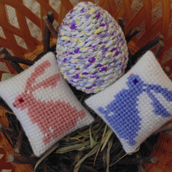 Shabby Chic Easter Bunnies and Egg, Set of Three, Bunny Needle Art Pillows, Decorated Egg, Basket Fillers, Bowl Filler, Easter Decor