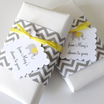 Gray Chevron Baby Shower Favors with Custom Elephant Tags, Set of 12