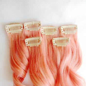 ORANGE CREAMSICLE Human Hair Extensions : Clip In Hair Extensions, Peach Hair Extensions, Ombre Hair, Orange Hair Extensions