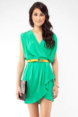 New Colors on the Block Belted Dress in Green :: tobi