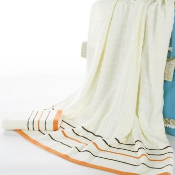70*140cm bamboo fiber white jacquard stripe Bath Towel Bulk Beach towel Spa Salon Wraps Terry Towels bulk towel toalha