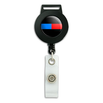 Thin Blue Red Line Firefighter Police Retractable Badge Card ID Holder