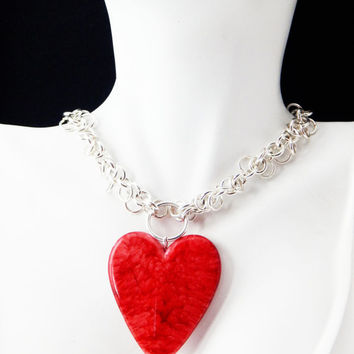 Red Heart Jewelry Red Necklace Heart Jewelry Heart Necklace Red Heart Pendant Valentines Day Valentines Jewelry Valetines Necklace Silver