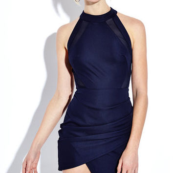 Navy Halter Criss Cross Back Overlap Front Midi Dress