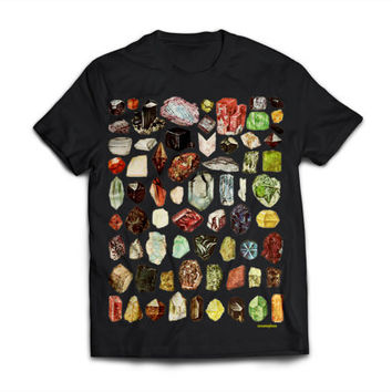 Gems! - Science - Nerd - Rocks - Jewels - Geology -  Black Shirt (High Quality Print on American Apparel) -