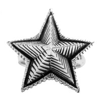 925 Sterling Silver Vintage Three-Dimensional Five-Pointed Star Ring Men's Jewelry