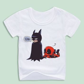 Boy and Girl Deadpool Spiderman Superhero Funny T-Shirts Children Summer Tops Toddler Boys/Girls Clothes Costumes Baby Kids Tees