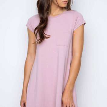 Good Timing Shirt Dress - Dusty Mauve