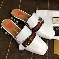 GUCCI Pearl Women Leather Fashion Slipper Flats Shoes