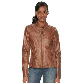 Women's Sebby Collection Faux-Leather Moto Jacket