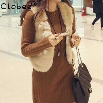 2018 winter faux fur vest Women Faux fur coat sleeveless winter fur jacket soft rabbit fur waistcoat oversize overcoat L623