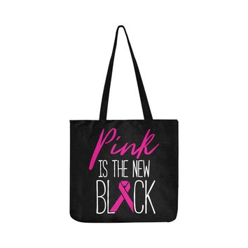 Pink Is The New Black V2 Breast Cancer Awareness Pink Ribbon Reusable/Water Resistant Shopping Bags (8 colors)
