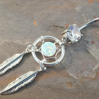 White Opal Dream Catcher Belly Button Ring