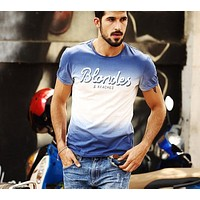New Men Clothing T shirt  Summer Short sleeve O-neck Letter Casual Slim T-shirt Mens Tops