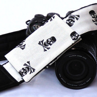 Skulls Camera Strap with Pocket, Dia de los Muertos, Day of the Dead, dSLR Camera Strap, SLR, Nikon, Canon Camera Strap. Photo Gear