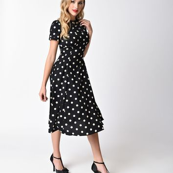 Hell Bunny Black & Cream Polka Dot Madden Swing Dress