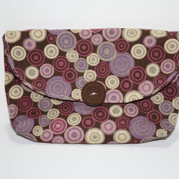 Small Cotton Clutch, Cell Phone Cozy, Purple Beige Polka Dots, The Cameran Clutch