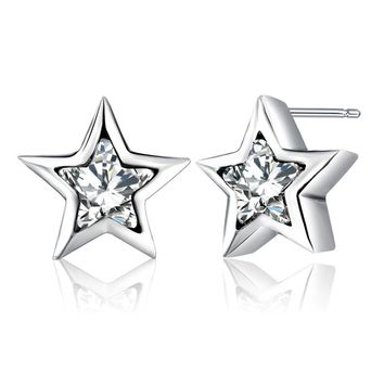 MISSITA Silver Color Pandora Earrings Sparkling Pentagram Stud Earrings With Clear CZ For Women Girls Jewelry Gift
