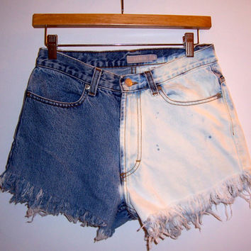 Vintage High Waisted Half Bleached Denim Shorts