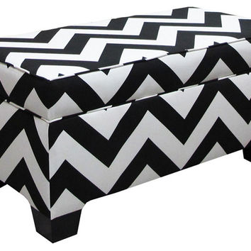 Skyline Zig Zag Black and White Upholstered Storage Bench - Bedroom Benches at Hayneedle