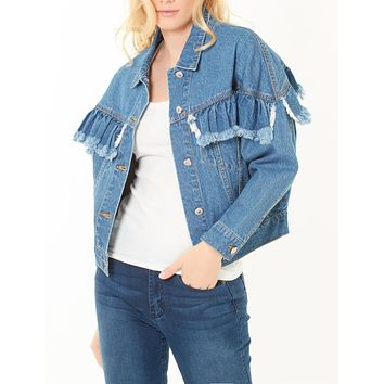 LE3NO Womens Boyfriend Ruffled Cropped Denim Jacket with Pockets (CLEARANCE)