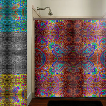 Paisley Gypsy Hippie Bohemian Art Tapestry Shower Curtain Bathroom Decor  Fabric Kids Bath White Black Custom