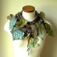 Long and Leafy Scarf Brown with Olive and Sap by TheFaerieMarket
