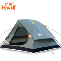 Hewolf Waterproof Double Layer 2 3 person Outdoor Camping Tent Hiking Beach Tent Tourist bedroom travel
