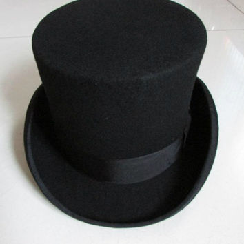 13.5 cm high 100% wool felt top hat vintage traditional fashion Black red white ladies fedora party church hats