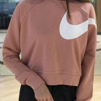 CREYON Nike Long Sleeve Cropped Sweatshirt In Pink