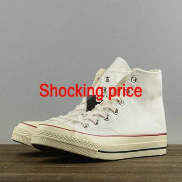 cheap e fit shoes Unisex Converse Chuck Taylor All Star 1970s Hi Top Parchment Grey Red Black 144754 fashion shoe