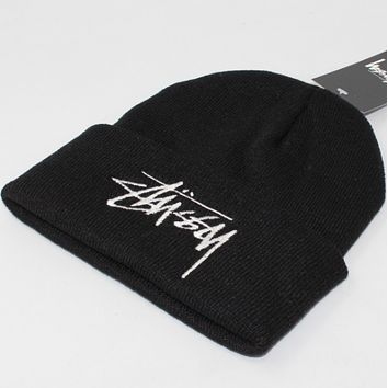 Stussy winter couple students warm hat tide card cold hat Black