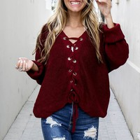 All Right Now Burgundy Oversized Sweater - Amazing Lace