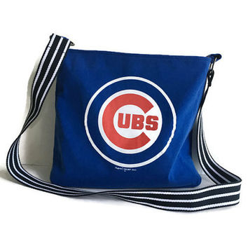 Cubs Crossbody Bag Upcycled T-shirt Purse Chicago Cubs Bag