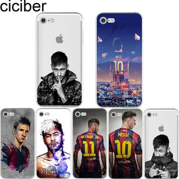 ciciber Neymar Messi Football Soccer Soft Silicon Phone cases cover For iPhone 6 6S 7 8 plus X 5S SE Barcelona Fundas Capa