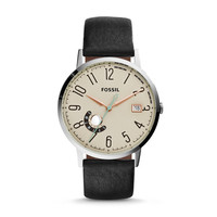 Vintage Muse Three-Hand Black Leather Watch