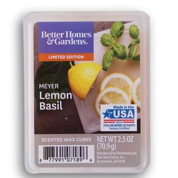 Better Homes and Gardens 2018 Limited Edition Meyer Lemon Basil Wax Cubes