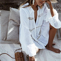 SPORLIKE Lace Hollow Crochet Cover Up Tunic Beach Dress