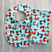 Fox Gender Neutral Bib and Burp Cloth Set - Minky Dot Bib and Burp Cloth - Multi Colored Baby Foxes on Light Blue Print