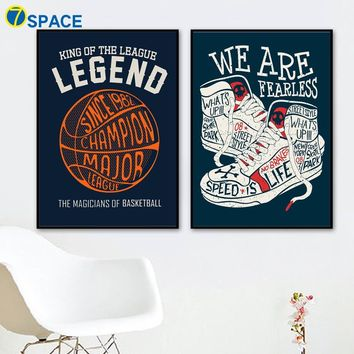 Hip Hop Basketball Sneaker Quotes Canvas Painting Wall Art Canvas Posters And Prints Nordic Poster Wall Pictures Kids Room Decor
