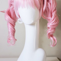 Pastel Pink Pigtail Cosplay wig (parted wig with detachable clip-ons)