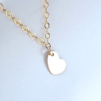 Tiny Heart Gold Necklace - Sweet dainty everyday necklace by Yameyu