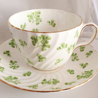 Aynsley Green Shamrock English Fine Bone China Vintage Choice of Teacup & Saucer Set and Matching plate - Clover St. Patrick's lucky white -