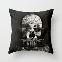 Room Skull B&W Throw Pillow by Ali GULEC