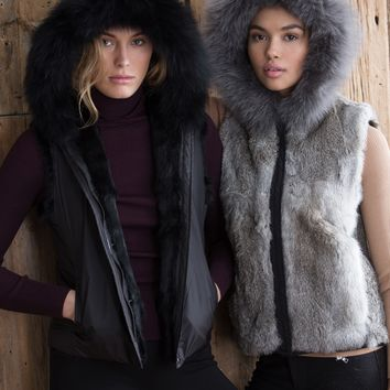 525 America Reversible Fur Hooded Vest