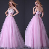 Grace Karin Elegant Long Formal Wedding Gown Beaded Prom Ball Gown Sexy Strapless Party Dress = 5739476225