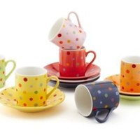 One Kings Lane - Holiday Brunch - S/6 Polka Dots Cups & Saucers, Assorted